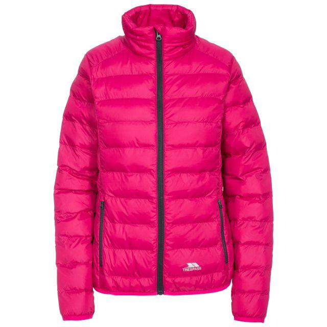 Trespass Womens Packaway Jacket Lightweight Julianna in Pink, Front view on mannequin