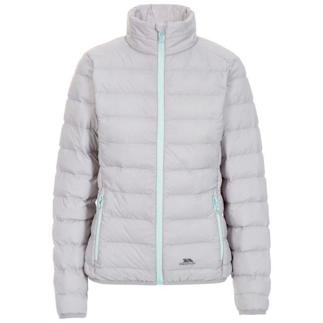 Trespass Womens Packaway Jacket  Lightweight Julianna in Grey, Front view on mannequin
