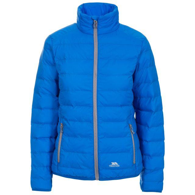 Trespass Womens Packaway Jacket  Lightweight Julianna in Blue, Front view on mannequin