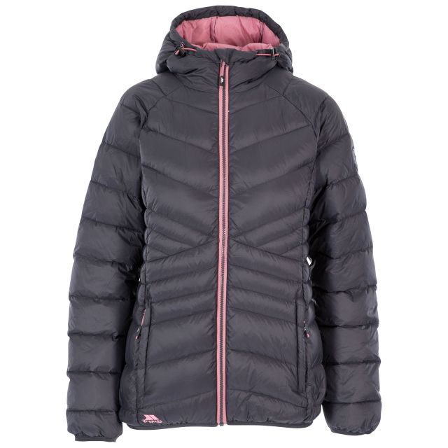 Trespass Womens Down Jacket Hooded Julieta in Grey, Front view on mannequin
