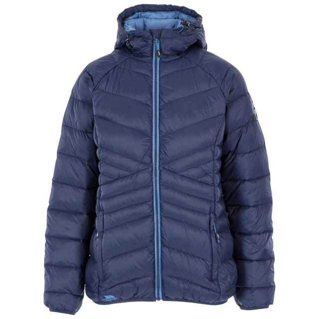 Trespass Womens Down Jacket Hooded Julieta in Navy, Front view on mannequin