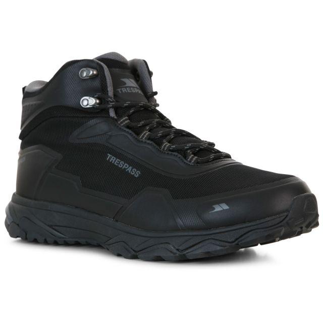 Trespass Mens Walking Boots Waterproof Mid-Cut Kakaraka Black, Angled view of footwear