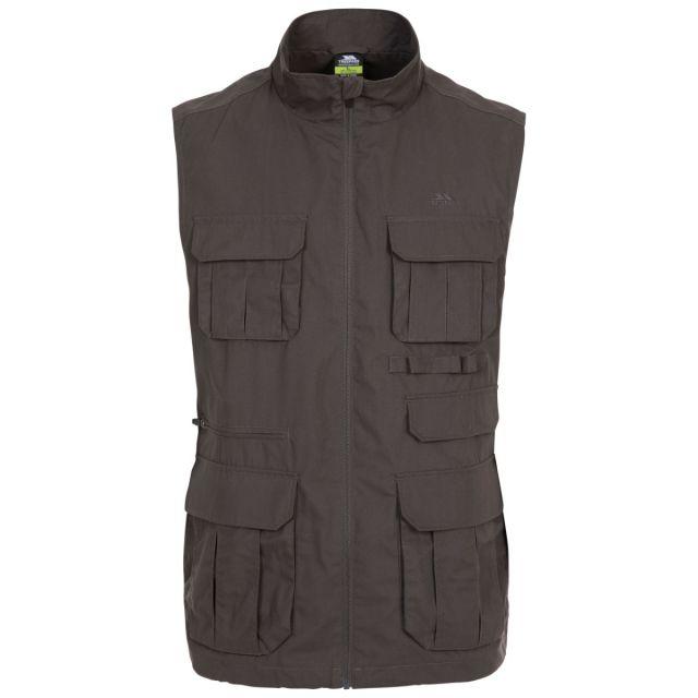 Trespass Men's Gilet Sleeveless Jacket Keardeens Khaki, Front view on mannequin