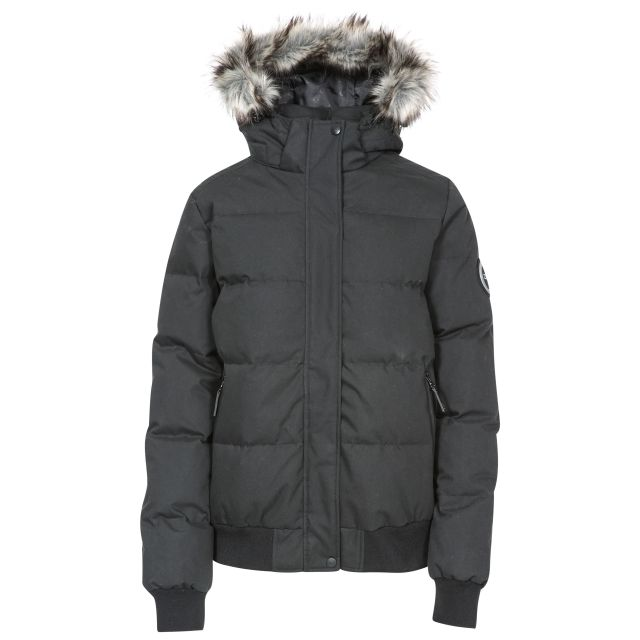 DLX Womens Down Jacket Hooded Kendrick in Black, Front view on mannequin