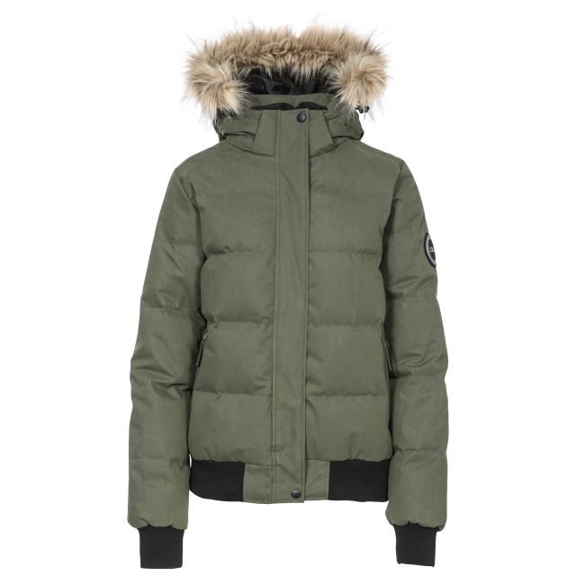 DLX Womens Down Jacket Hooded Kendrick in Khaki, Front view on mannequin