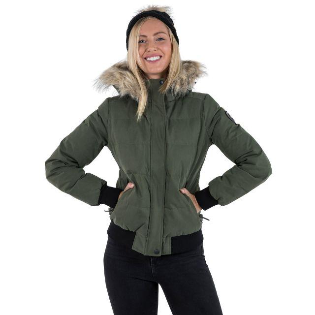 DLX Womens Down Jacket Hooded Kendrick in Khaki