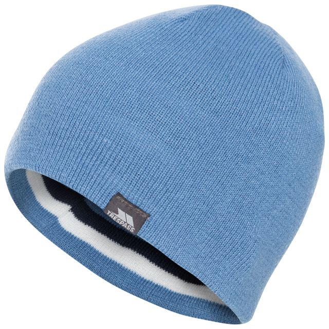 Kezia Adults' Reversible Knitted Beanie Hat in Blue, Logo detail
