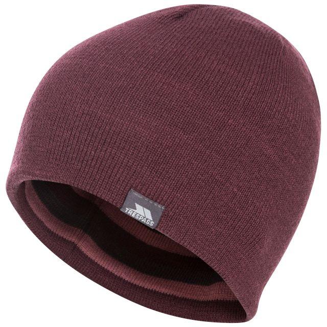 Kezia Adults' Reversible Knitted Beanie Hat in Purple, Logo detail
