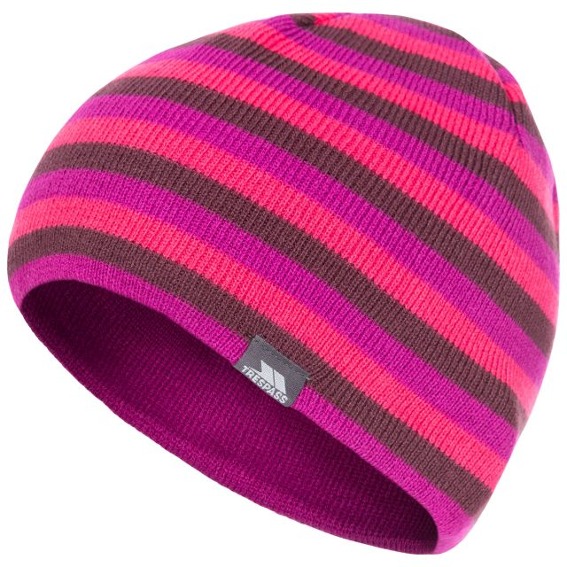 Kezia Adults' Reversible Knitted Beanie Hat in Purple, Hat at angled view