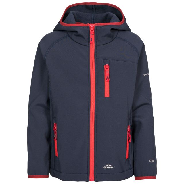 Kian Kids' Softshell Jacket in Navy, Front view on mannequin