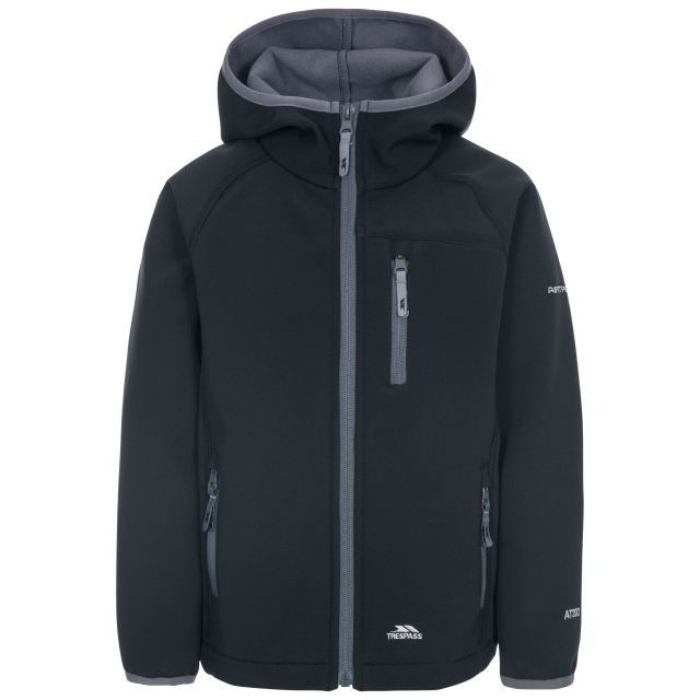Kian Kids' Softshell Jacket in Black, Front view on mannequin