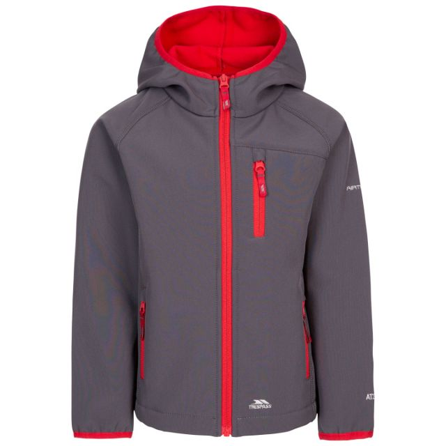 Trespass Kids' Unisex Softshell Jacket Kian Carbon, Front view on mannequin