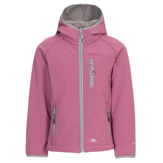 Kian Kids' Softshell Jacket in Purple, Front view on mannequin