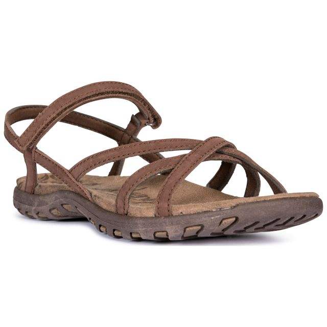 Kimbra Women's Leather Sandals in Brown, Angled view of footwear