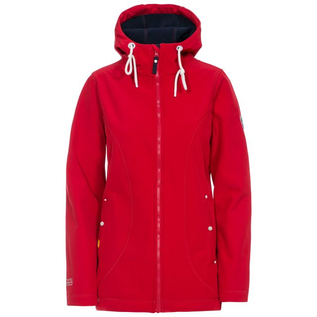 Trespass Womens Softshell Jacket Hooded Kinsley in Red, Front view on mannequin