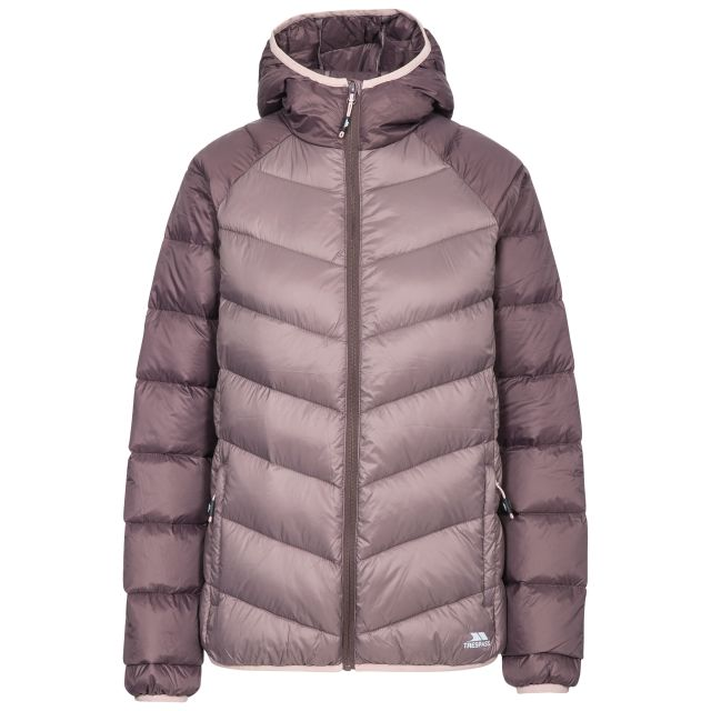 Trespass Womens Down Jacket Hooded Kirstin in Light Purple, Front view on mannequin