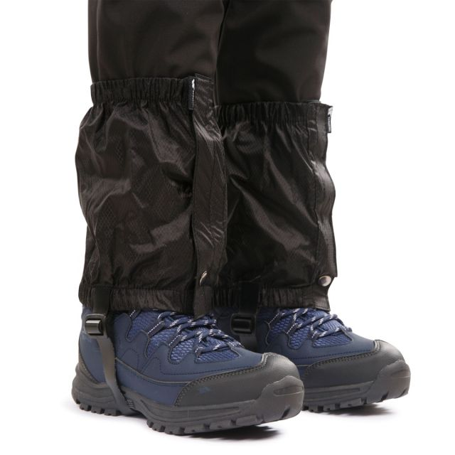 Knoydart Adults Classic Gaiters in Black, Front view on model