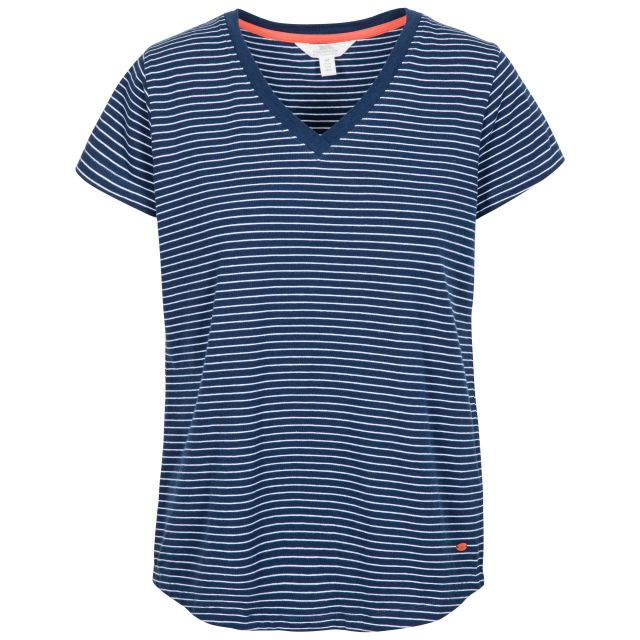 Konnie Women's V-Neck T-Shirt in Navy, Front view on mannequin