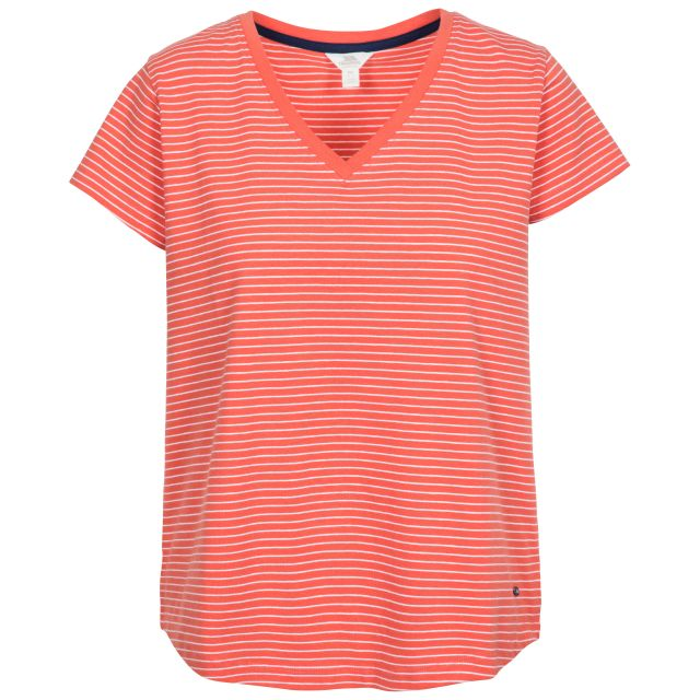 Konnie Women's V-Neck T-Shirt in Peach, Front view on mannequin