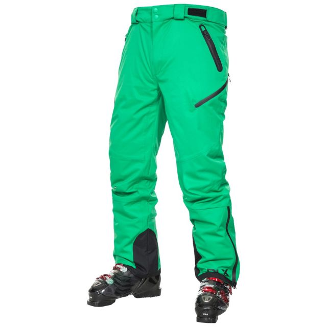 Kristoff Men's DLX Salopettes in Green, Front view on model