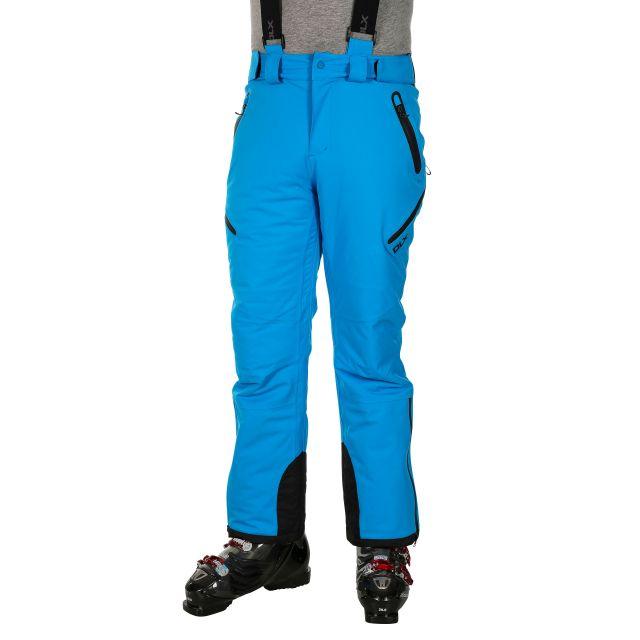 Kristoff Men's DLX Salopettes in Blue, Waist detail on model