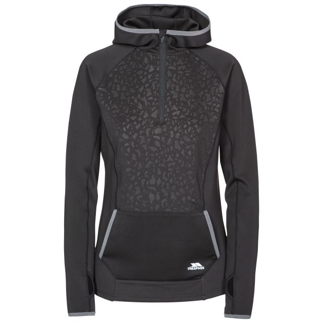 Lalita Women's Quick Dry Active Hoodie in Black, Front view on mannequin