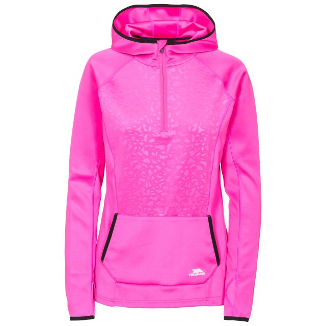 Lalita Women's Quick Dry Active Hoodie in Pink, Front view on mannequin