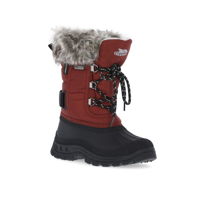 Lanche Kids' Faux Fur Snow Boots in Red, Angled view of footwear