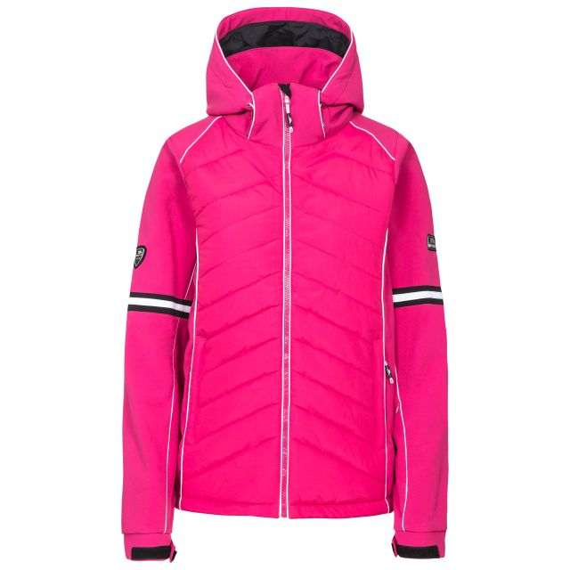 Trespass Womens Ski Jacket Windproof Larne in Pink, Front view on mannequin