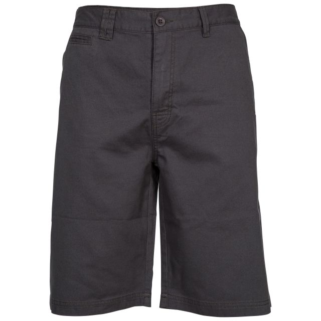 Leominster Men's Cotton Shorts in Grey, Front view on mannequin