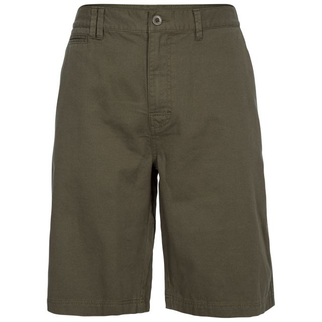 Leominster Men's Cotton Shorts in Khaki, Front view on mannequin