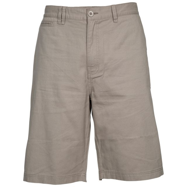 Leominster Men's Cotton Shorts in Beige, Front view on mannequin