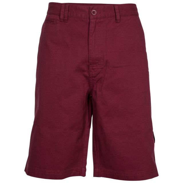 Leominster Men's Cotton Shorts in Purple, Front view on mannequin