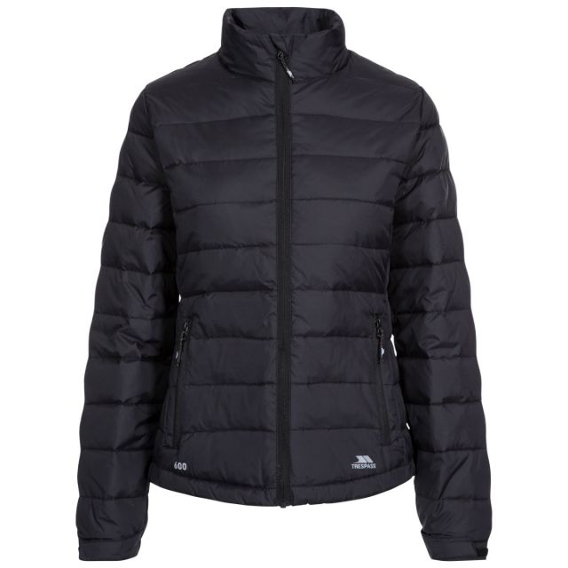 Letty Women's Down Jacket in Black, Front view on mannequin