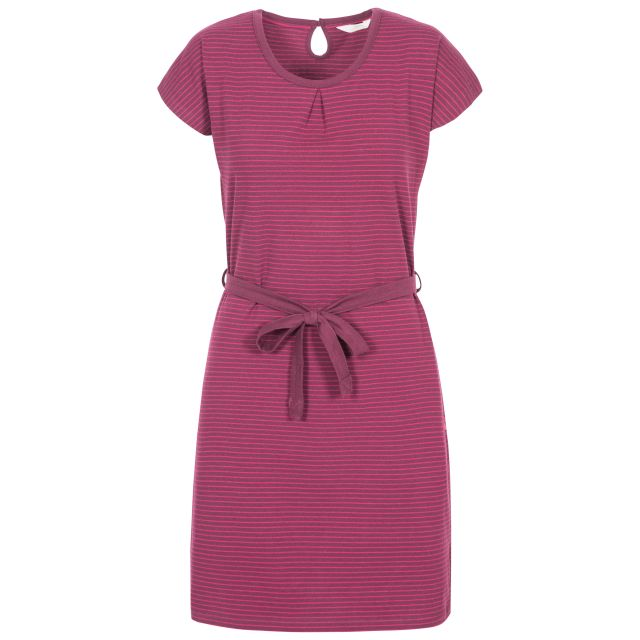 Lidia Women's Round Neck Cotton Dress in Purple, Front view on mannequin