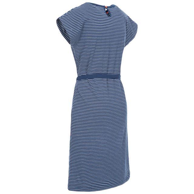 Lidia Women's Round Neck Cotton Dress in Navy