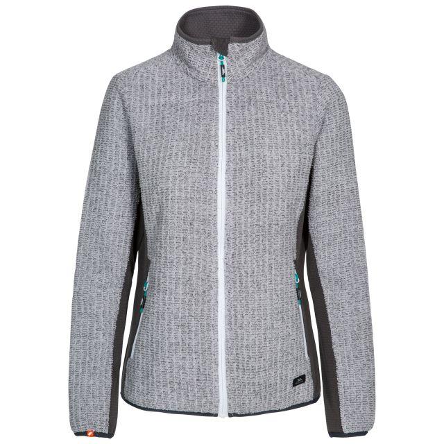 Liggins Women's Fleece in Light Grey, Front view on mannequin