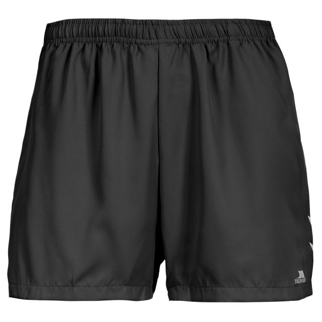 Lil Women's Quick Dry Track Shorts in Black, Front view on mannequin