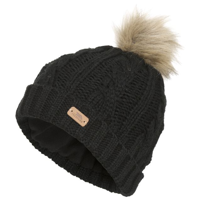 Lillia Women's Knitted Bobble Hat in Black, Hat at angled view