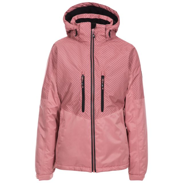 Trespass Womens Waterproof Ski Jacket Limelight in Pink, Front view on mannequin
