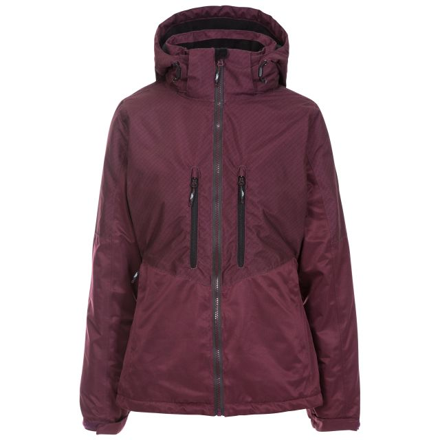 Trespass Womens Waterproof Ski Jacket Limelight in Purple, Front view on mannequin