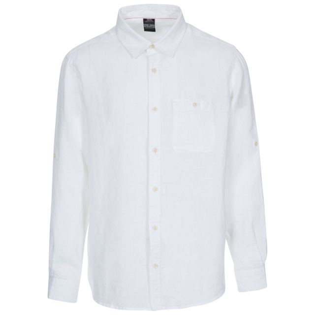 Linley Men's Linen Shirt in White, Front view on mannequin