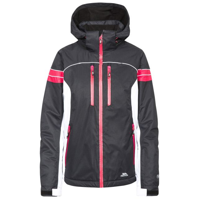 Locki Women's Waterproof Ski Jacket  in Black, Front view on mannequin