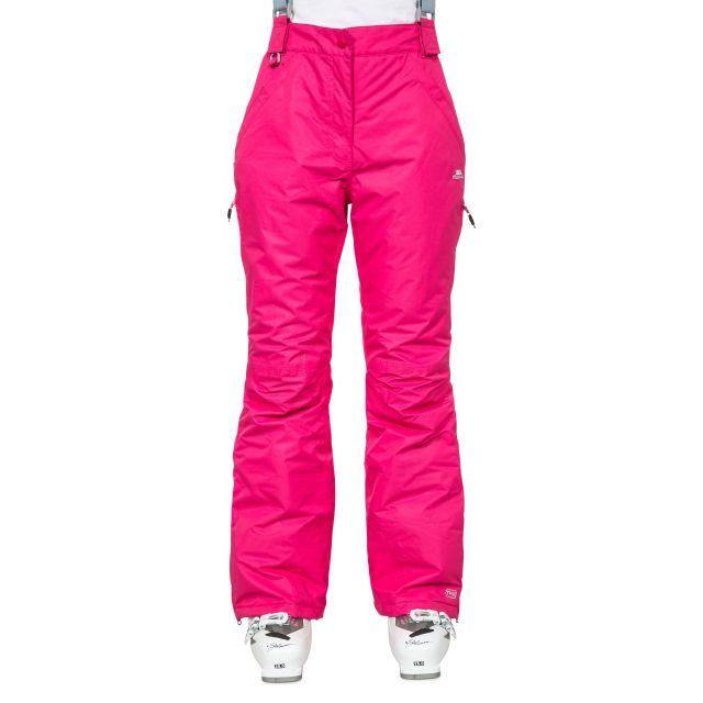 Lohan Women's Waterproof Ski Trousers in Pink, Front view on model