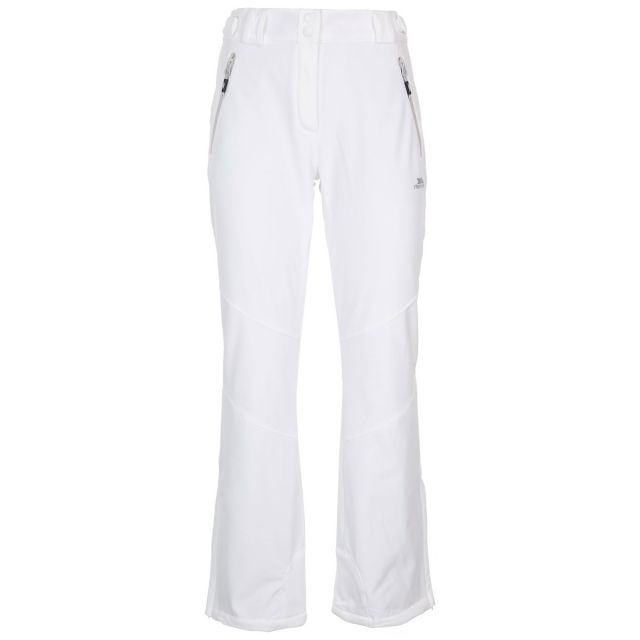 Trespass Womens Salopettes Slim Fit Microfleece Lois White, Front view on model