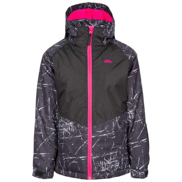Lottar Kids' Ski Jacket in Black, Front view on mannequin