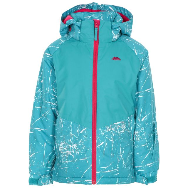 Lottar Kids' Ski Jacket in Green, Front view on mannequin