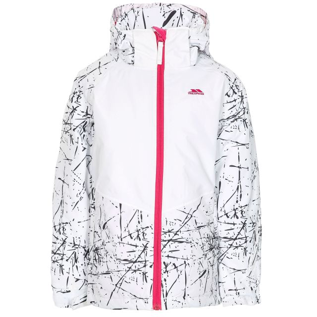 Lottar Kids' Ski Jacket in White, Front view on mannequin