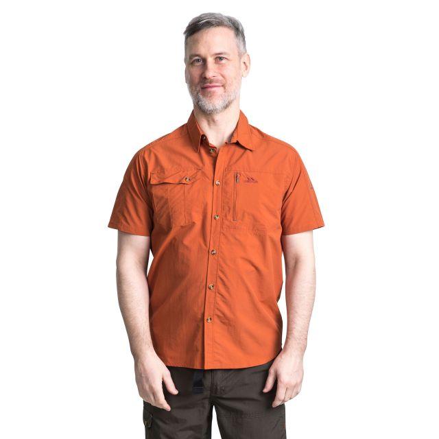 Lowrel Men's Mosquito Repellent Short Sleeve Shirt in Orange, Front view on model