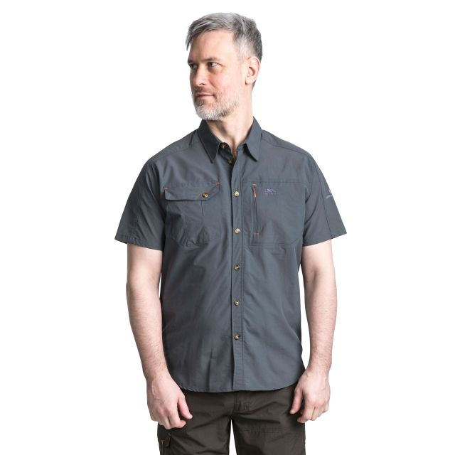 Lowrel Men's Mosquito Repellent Short Sleeve Shirt in Grey, Back view on model